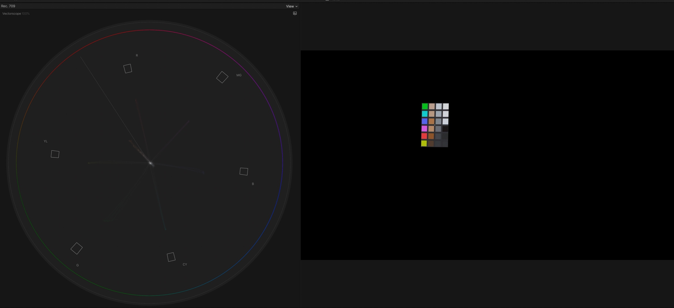10. Boost saturation so we can see where the colors sit on the vectorscope more easily. The colors yellow, red, magenta, blue, cyan and green aren't perfectly lined up on the scope. The skin tones are shifted to the yellows.