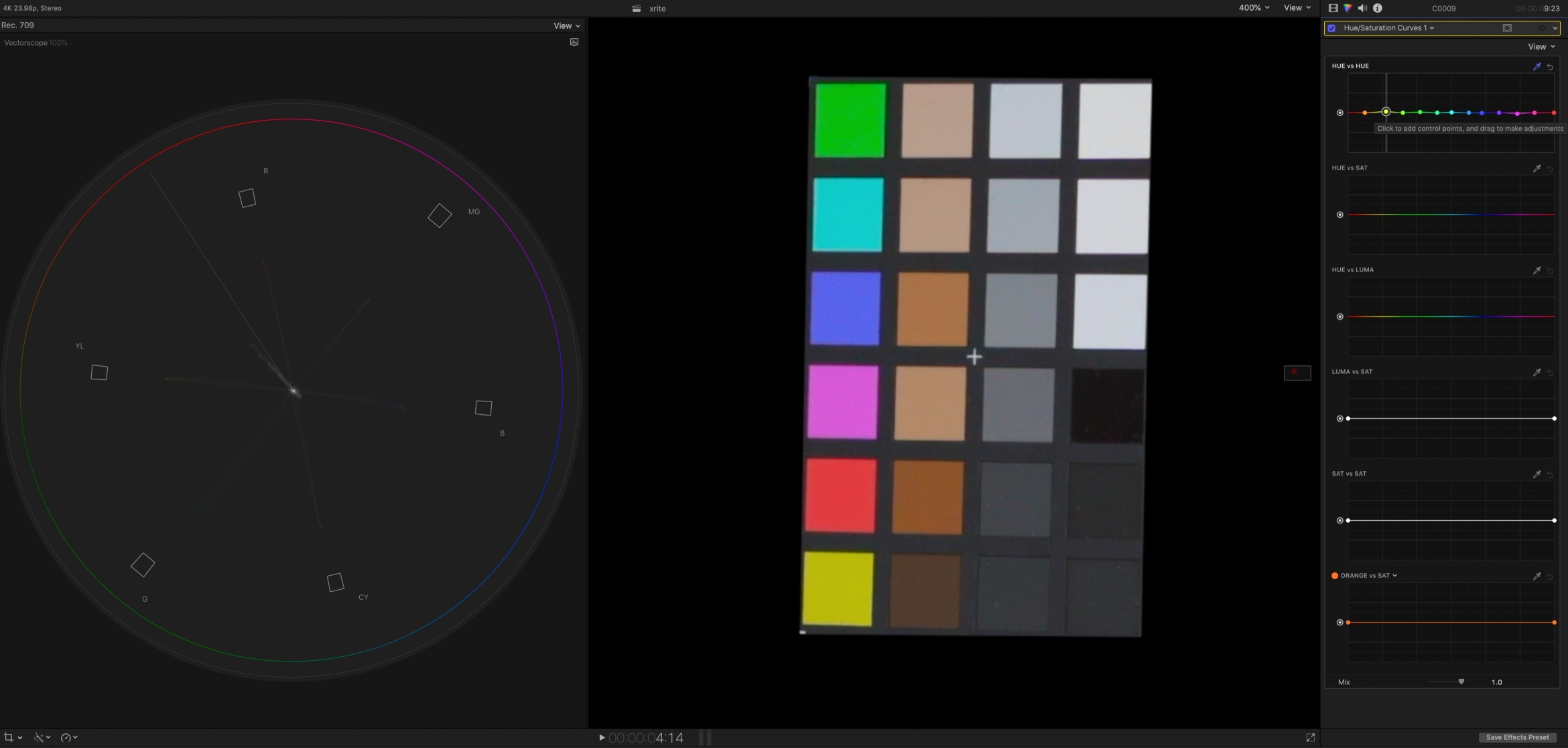 12. Holding down the shift key, grab each of the hues and drag it up and down until each one is pointed directly at the squares on the vectorscope.