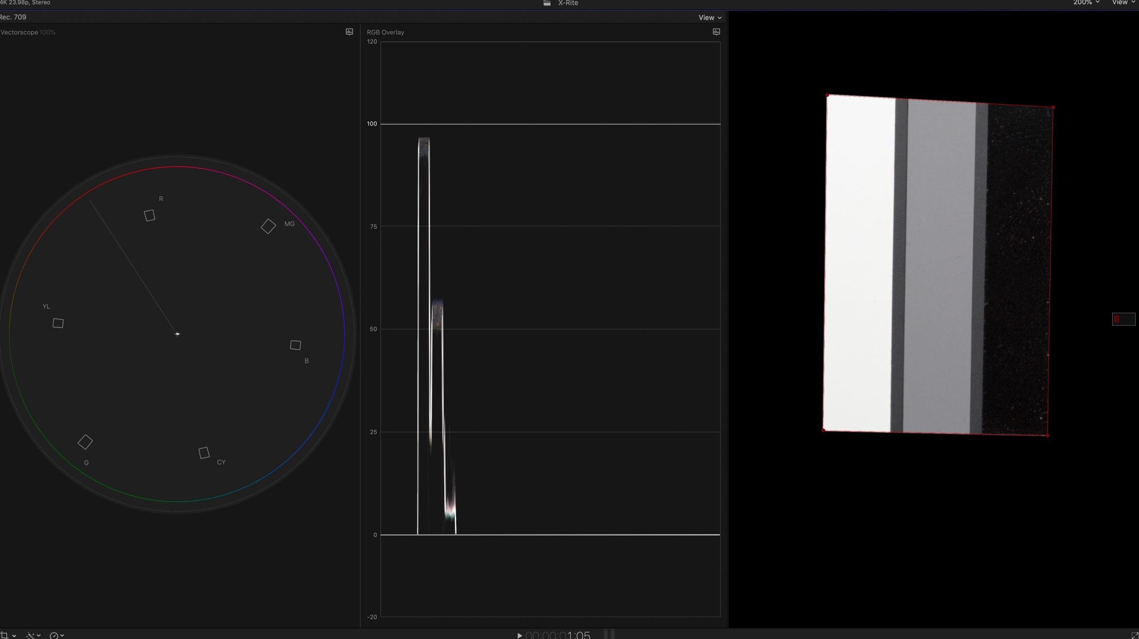 4. After dropping the Draw a Mask effect on the clip, isolating the chart and examining the RGB parade, we see that highlights, midtones and shadows line up and there is a dot in the middle of the vectorscope, indicating good white balance.