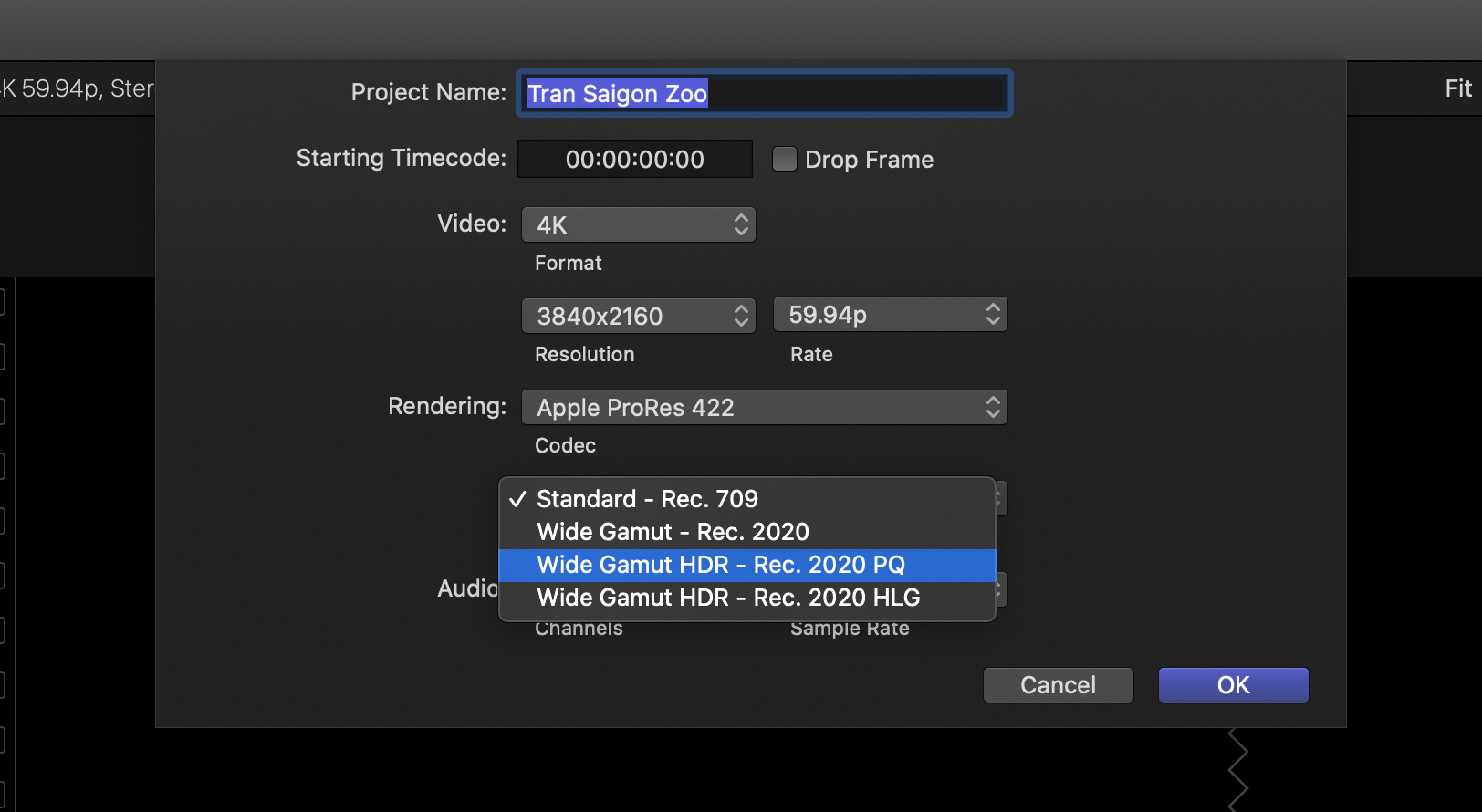 12. Select 'Wide Gamut HDR - Rec. 2020 PQ'.