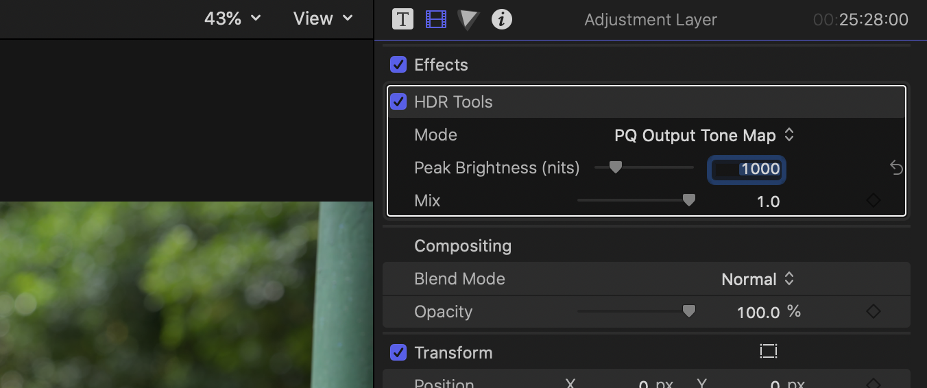 20. Leave peak brightness level at default 1,000 nits.